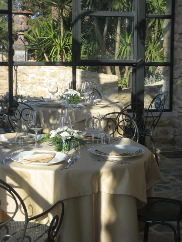 tables in the winter garden