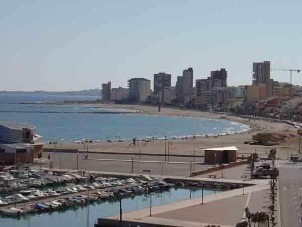 View of El Campello beach and marina