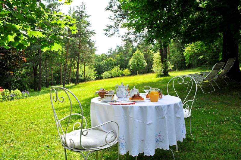 Breakfast in the park of the cottage