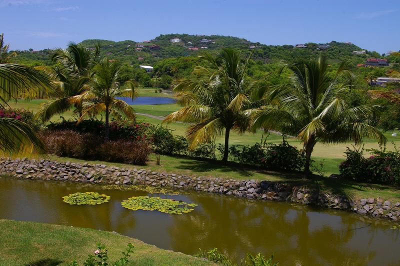 Uitzicht op de golfbaan van de villa
