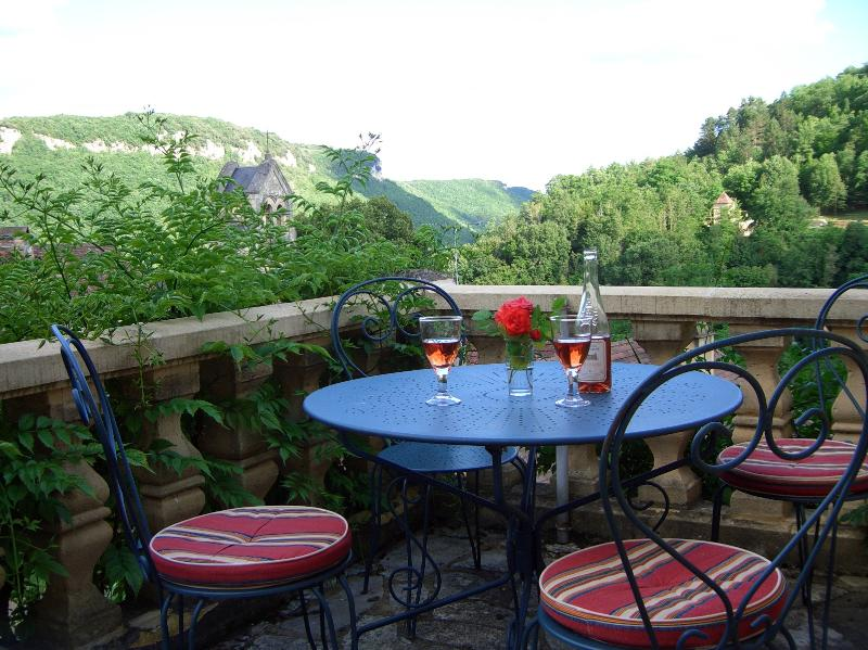 An evening drink to soak up the view across the valley.