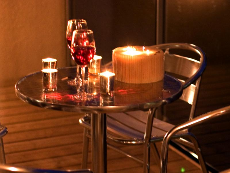 Wine on the Balcony with Candles