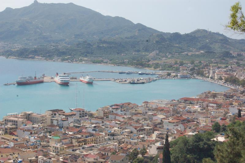 Zante harbour. Take a ferry over to Kafalonia for a day.