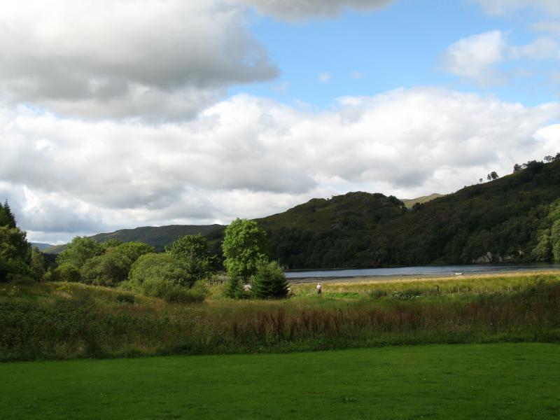 View across the lambing field to Loch Dochart