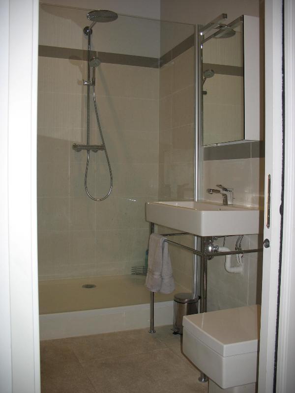 Badkamer met Duravit wastafel en wc en lopen op het gebied van de douche