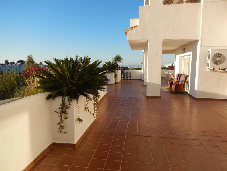 Fabulous HUGE, safe Terrace with gate down to the decking and BBQ area and garden.
