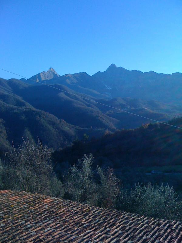 The Apuane Alps as seen from the terrace of Casa Michele