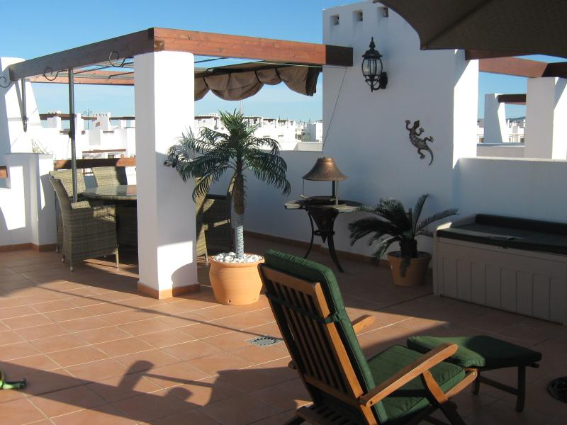 Huge roof terrace has great views on all sides
