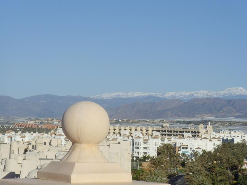 Magnificent views of the snow capped Sierra Nevada mountains  from the apartment.