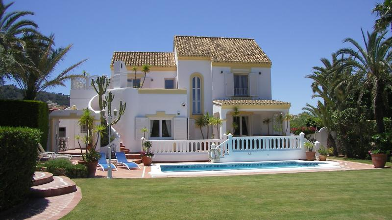 A rear view of our villa from the large garden