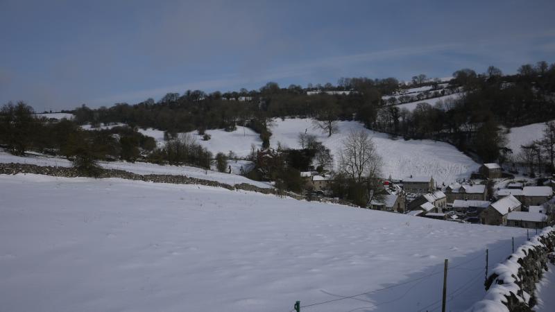 winter view above village