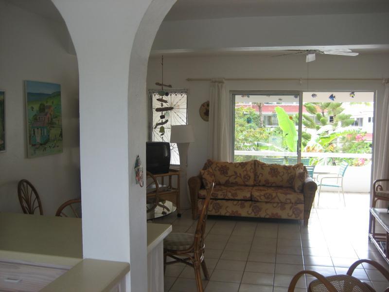 View through lounge to garden balcony
