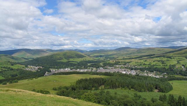 View of Langholm, the 'Muckle Toon' from the hill beyond Middleholms.