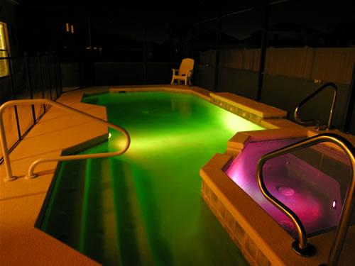 Pool & Spa at night with LED colour changing lights.