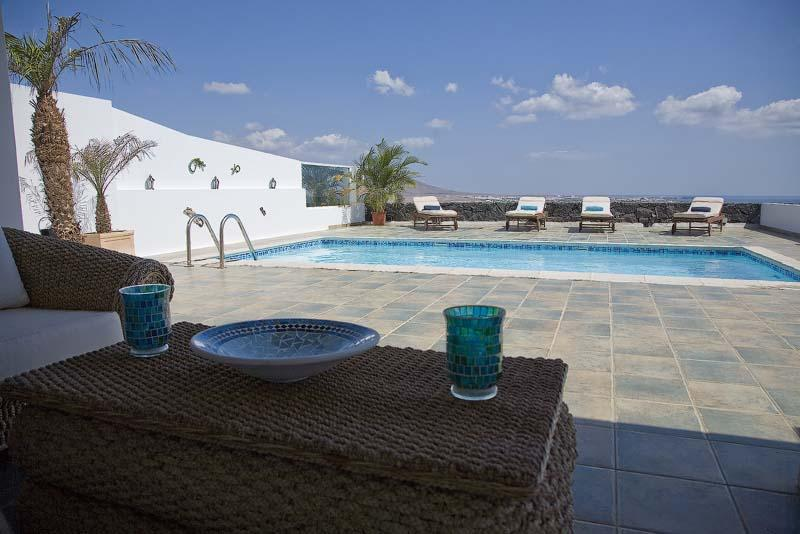 outside terrace, pool and view