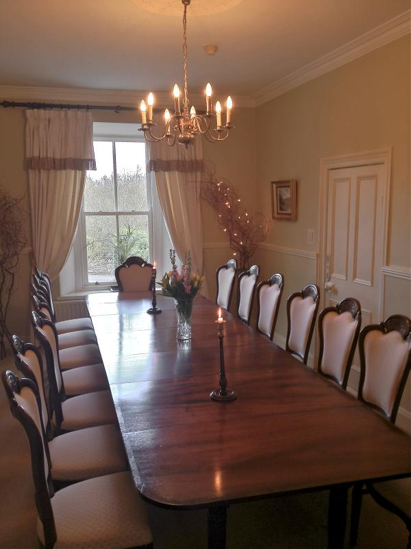 Dining Room- with 15ft Antique dining table which can seat 20
