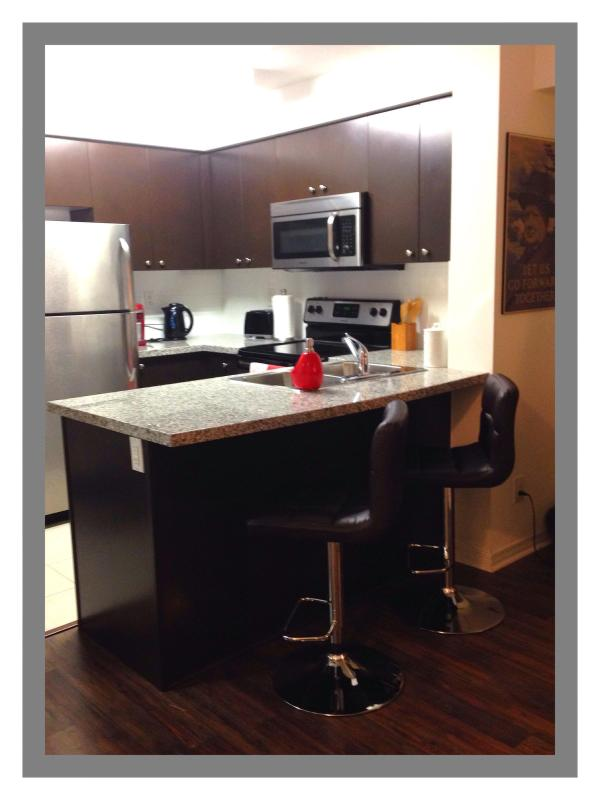 Fully Equipped Kitchen with Toaster, Kettle and Keurig Coffee Maker