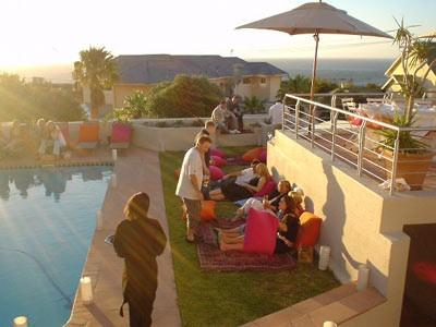 A wedding reception by the pool