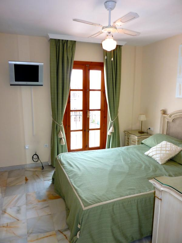 master bedroom with french doors.With satellite TV,DVD