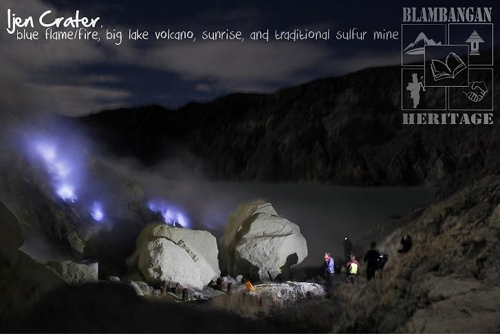 Ijen Crater first and top destination: Blue Fire/Blue Flame, big lake volcano, sunrise.
