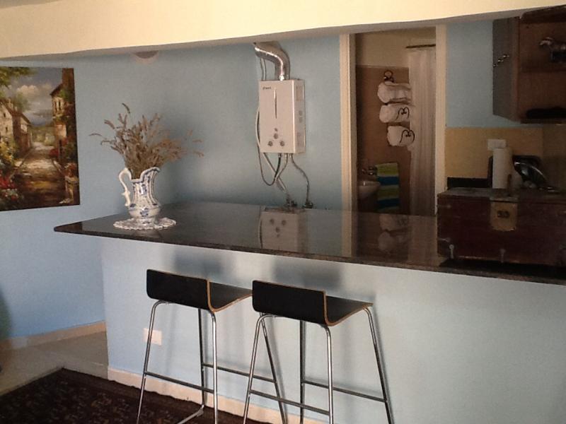 Grand comptoir granit micro-ondes, cafetière etc réfrigérateur