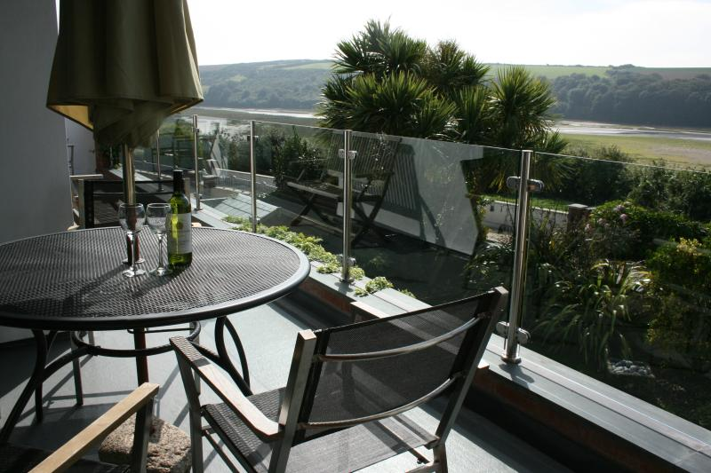 Balcony with 180 degree south vacing views across the estuary