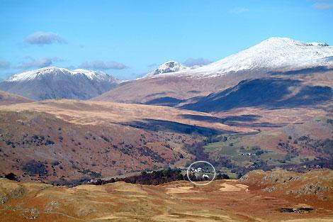 Boot village (circled) in Winter nestled beneath mighty snowcapped Scafell