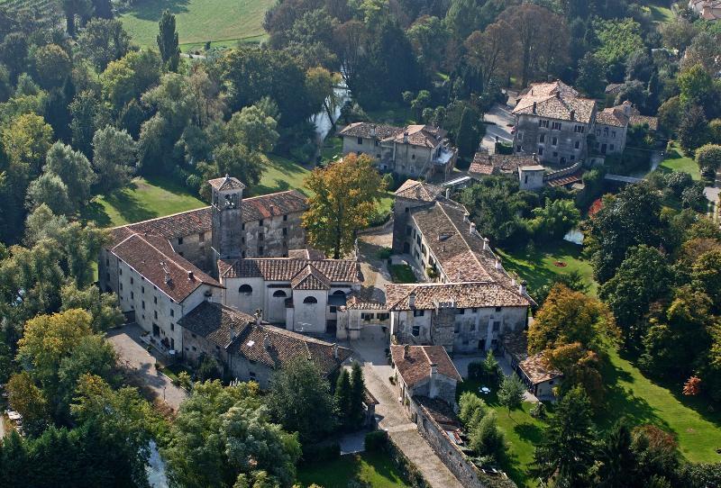 Airview castle of Strassoldo di Sopra complex with medieval borgo and park