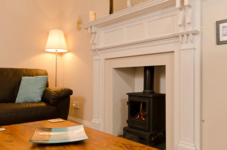 The lounge with gas effect log burner