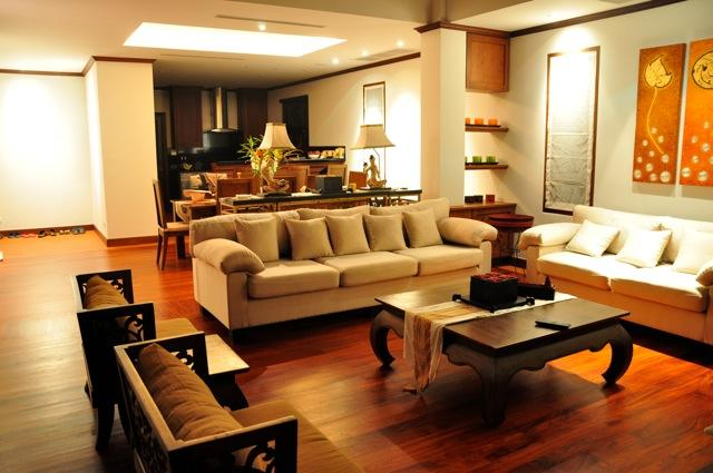 Living and DIning areas at night