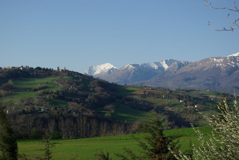 view from the garden - late spring snow in the Sibillinii mountains