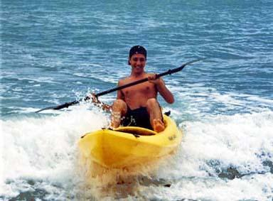 We have Kayaks, buggyboards, and beachchairs for your use