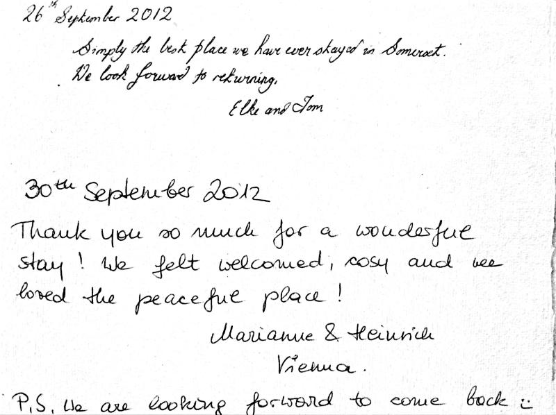 some recent comments in our visitors book...