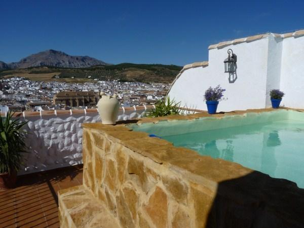 Private terrace with plunge pool with stunning views of Antequera and Torcal Mountains