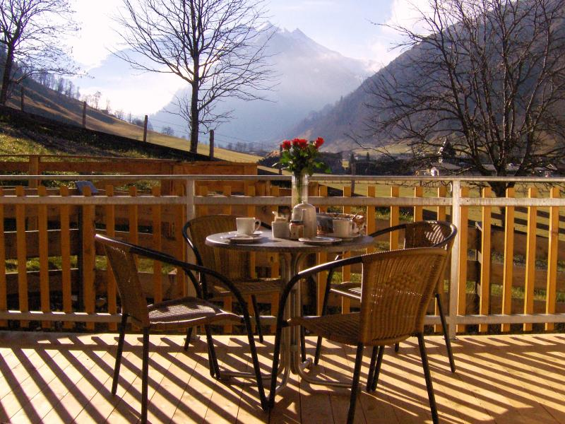 Balcony with view of the Sonblick Mountain in Autumn