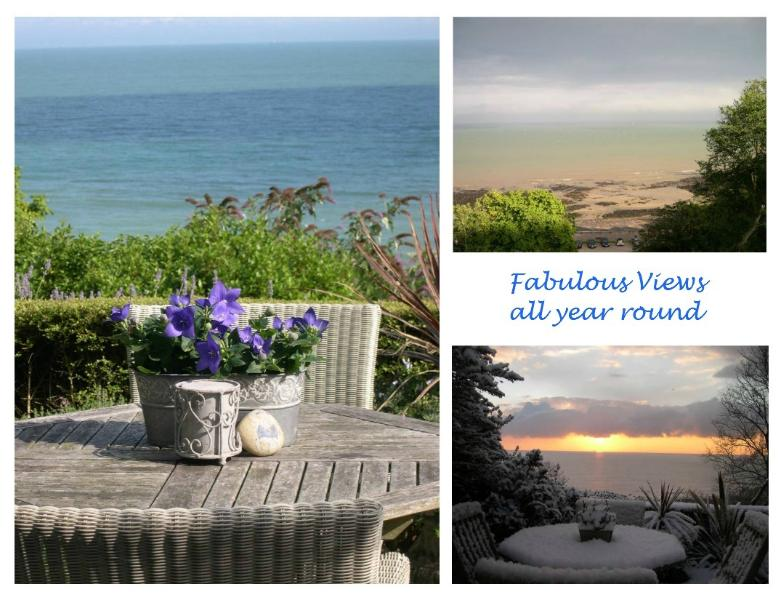 Sheltered south facing patio with stunning views of St Margarets Bay all year round
