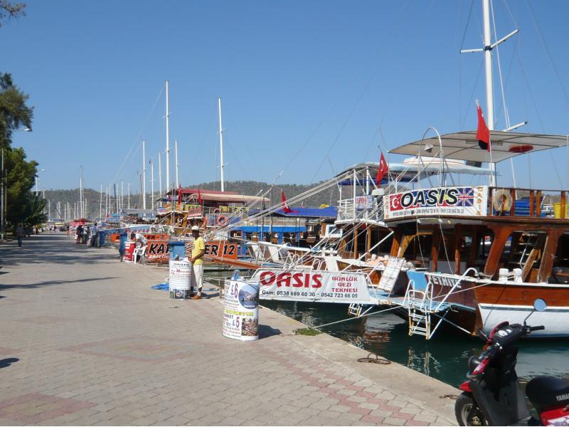 The promenade at Fethiye, boat trips available