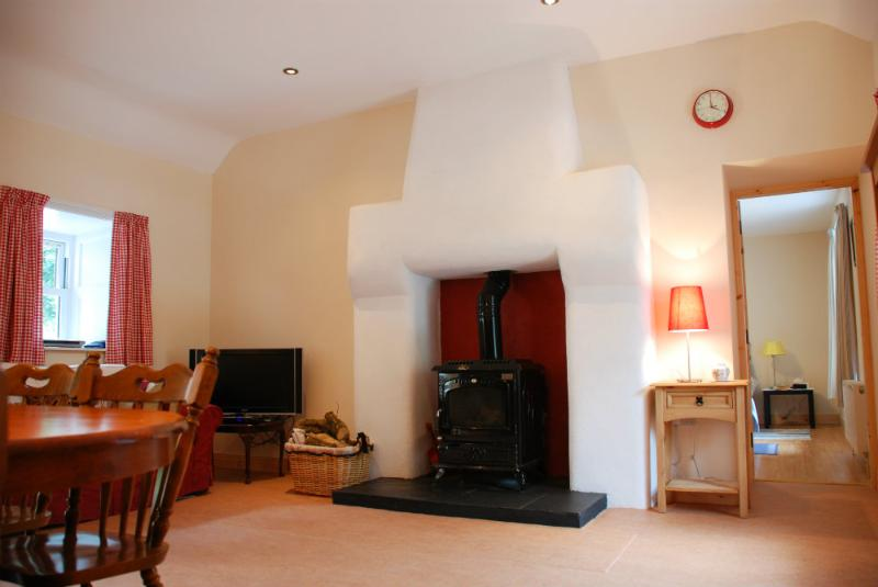 Open-plan living area with woodburning stove