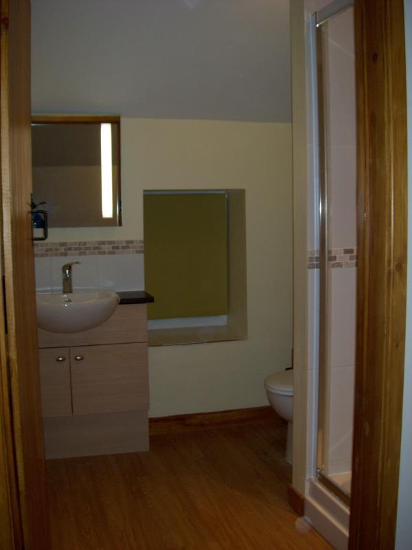 Shower room, with heated towel rail.