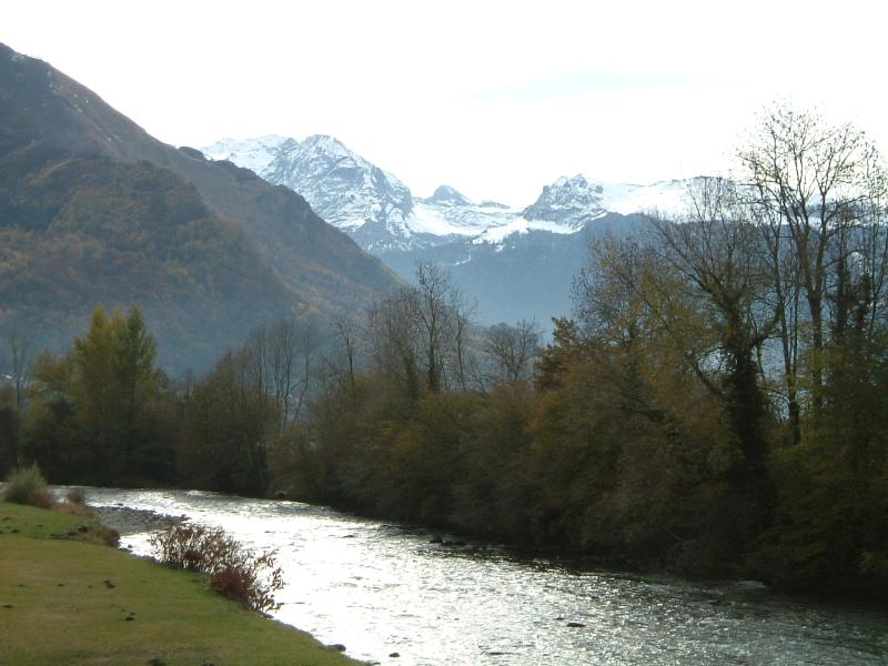 Autumn near Oloron with the mountains rising over the Gave d'oloron (our mountain river).
