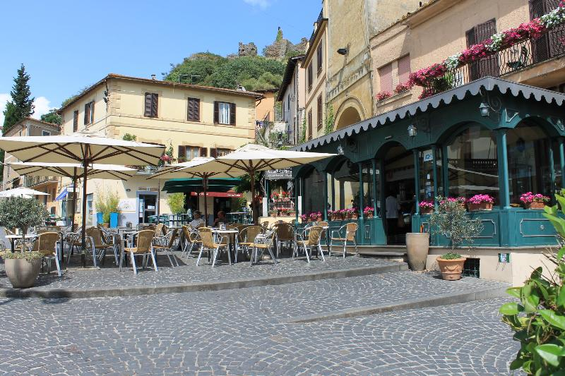 Main square: the cafeteria on the right serves the best cappuccino, gelato & pastries in town!
