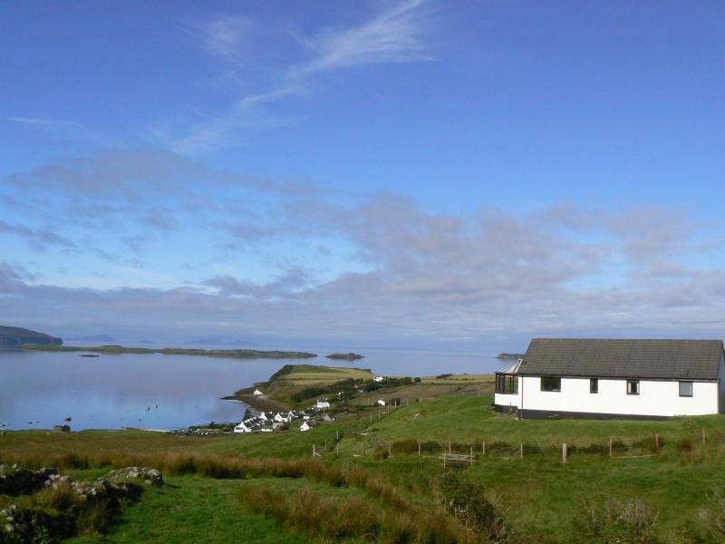 Lusta Cottage and croft overlooking Lochbay and the Outer Hebrides