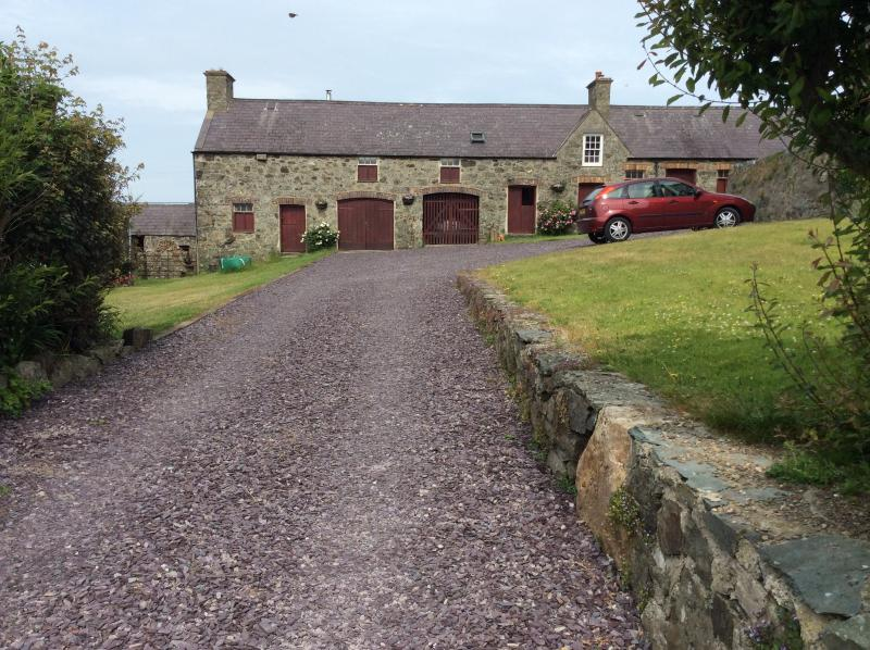 Pen y Graig courtyard and shared parking area