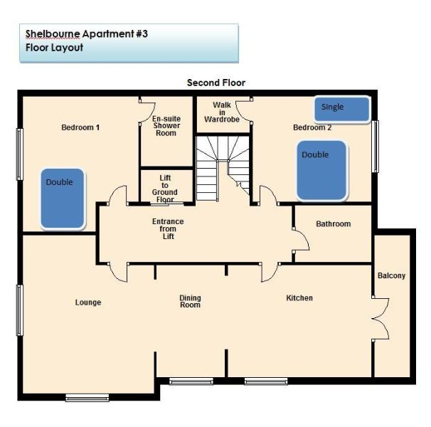 Apartment 3 Floor Plan with Beds