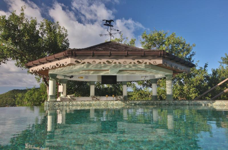 The Gazebo day bed adjoins the Infinity Pool and has stunning views of the Caribbean Sea