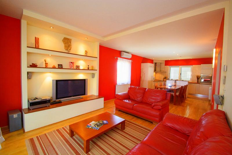 Living room with leather sofas, plasma TV with international cable programs, home cinema & DVD