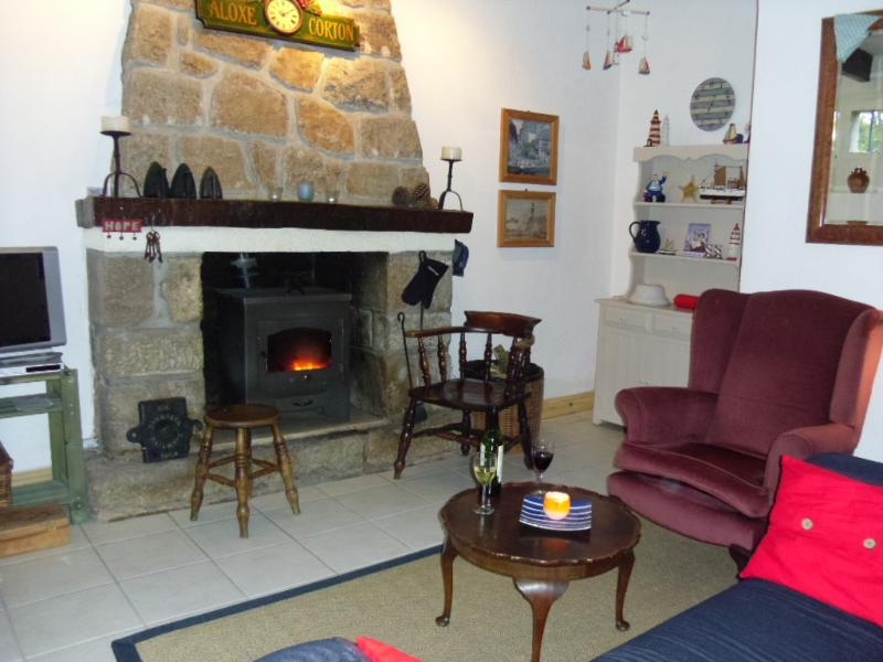 Living room with log burner for cosy evenings