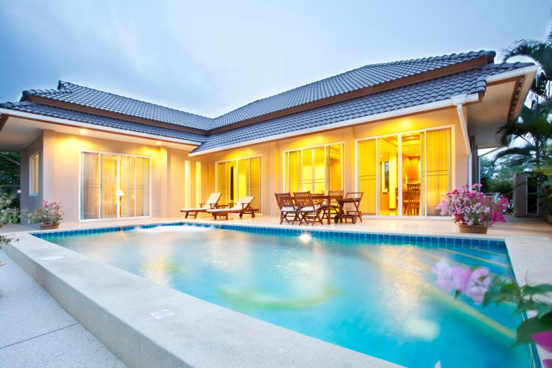 Holiday villa with private pool evening view