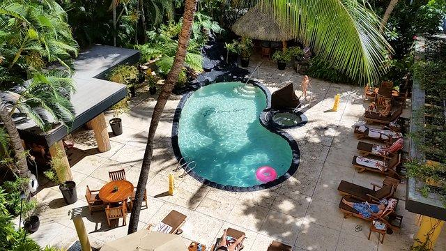 Pool area with Jacuzzi, sauna and waterfalls
