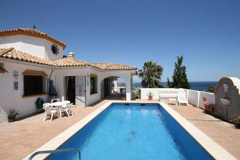 Pool terrace overlooking the Med and on a clear day you can see Africa (Morocco)